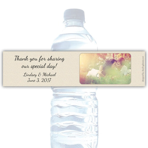 Water bottle labels burlap -  - Dazzling Daisies