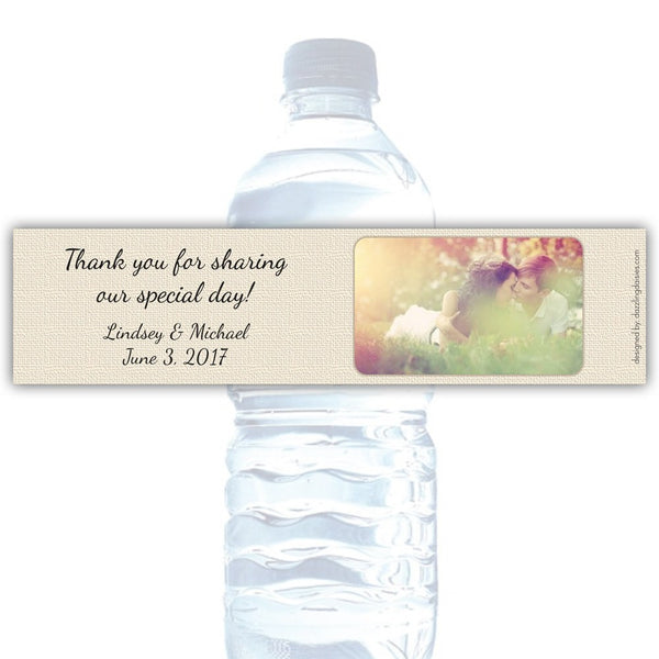 Water bottle labels 'Banded Lace' -  - Dazzling Daisies