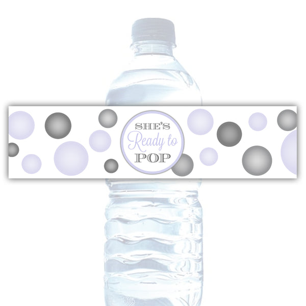 Ready to pop water bottle labels - Lavender - Dazzling Daisies