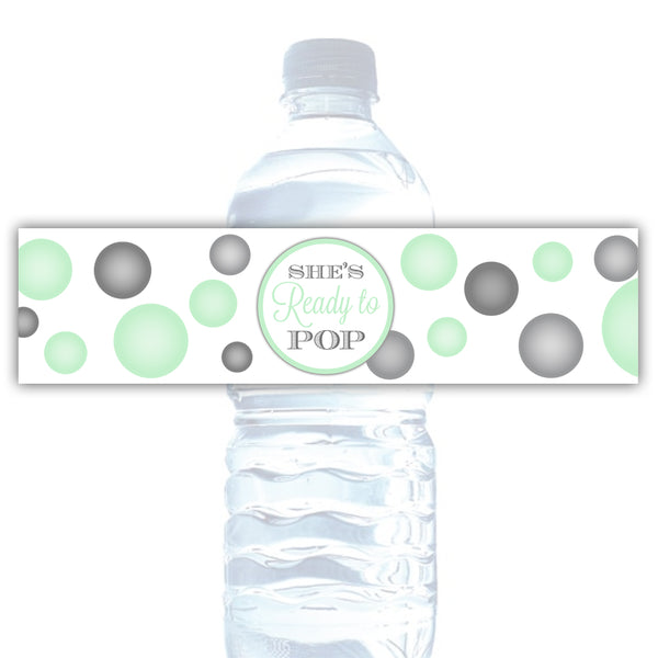 Ready to pop water bottle labels - Mint - Dazzling Daisies
