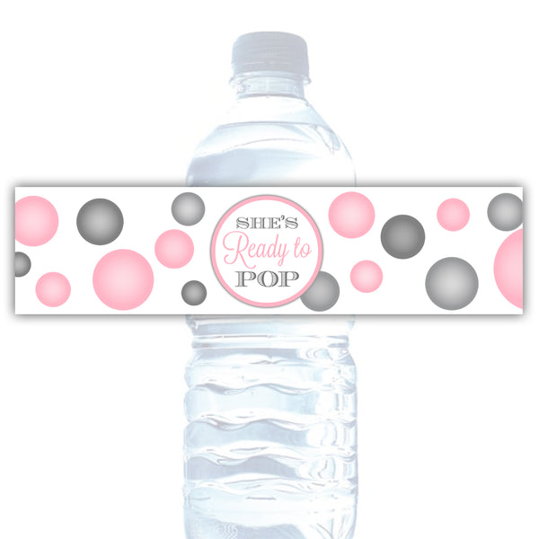 Ready to pop water bottle labels - Pink - Dazzling Daisies