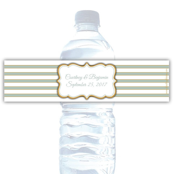 Water bottle labels 'Bold Lines' - Gold/Sage - Dazzling Daisies