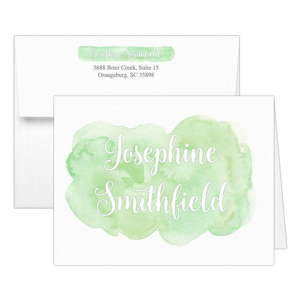 Watercolor note cards 'Bold Splash' - Green - Dazzling Daisies