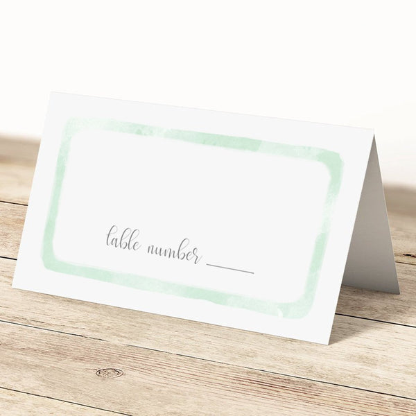 Place cards 'Watercolor Wash' - Green - Dazzling Daisies