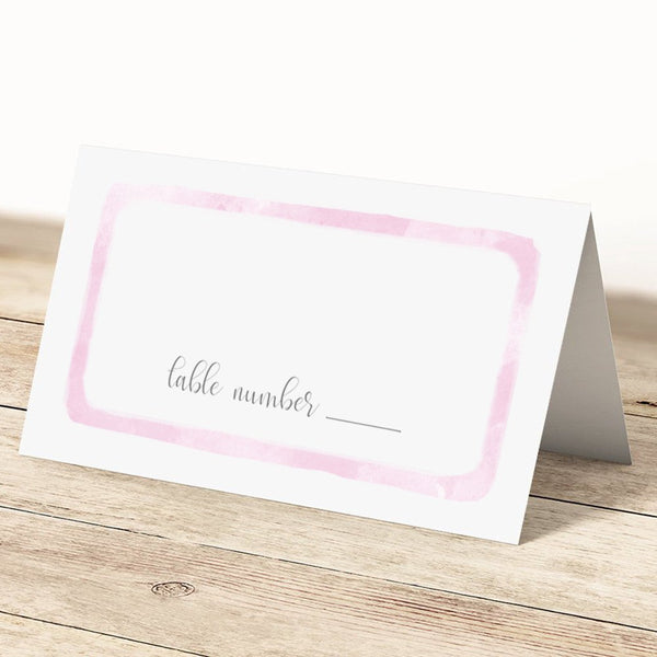 Place cards 'Watercolor Wash' - Pink - Dazzling Daisies