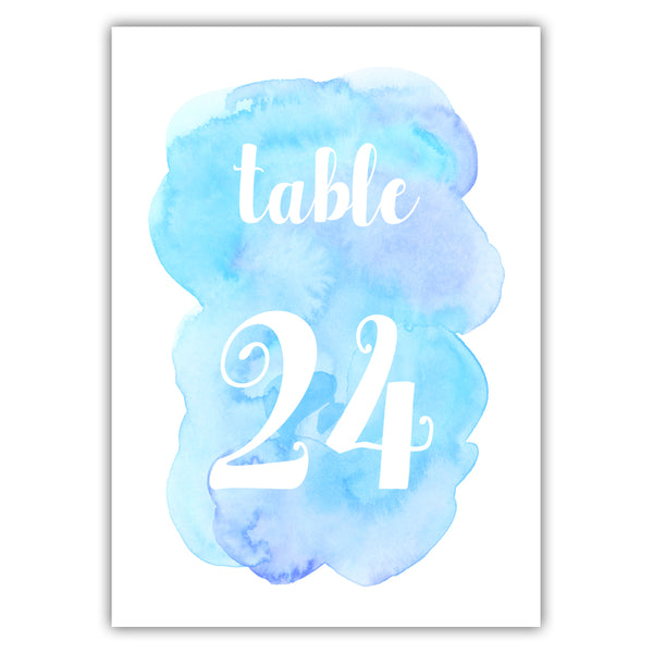 Watercolor table numbers - 1-6 / Sky blue - Dazzling Daisies