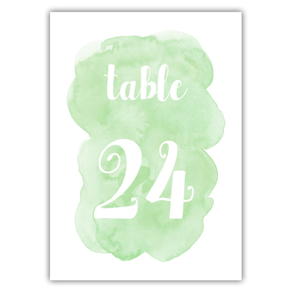 Watercolor table numbers - 1-6 / Green - Dazzling Daisies