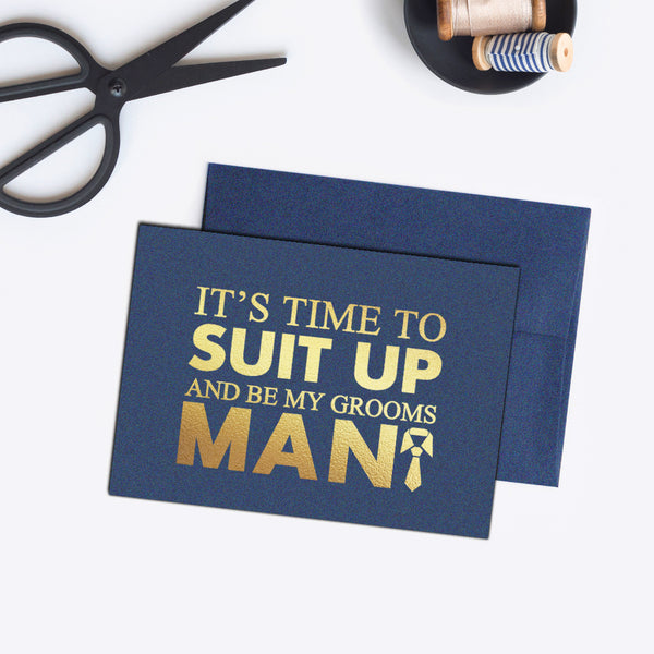 Groomsman card 'Bold and Bulky' - Navy / Gold foil - Dazzling Daisies