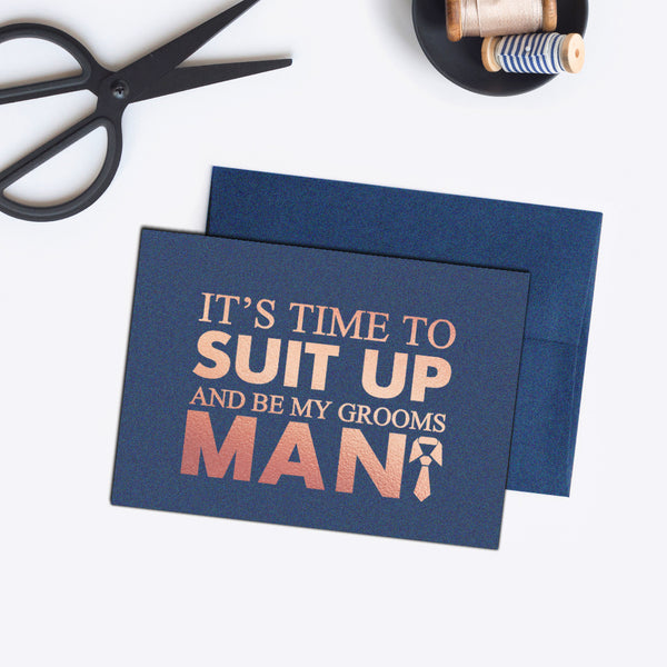 Groomsman card 'Bold and Bulky' - Navy / Rose gold foil - Dazzling Daisies