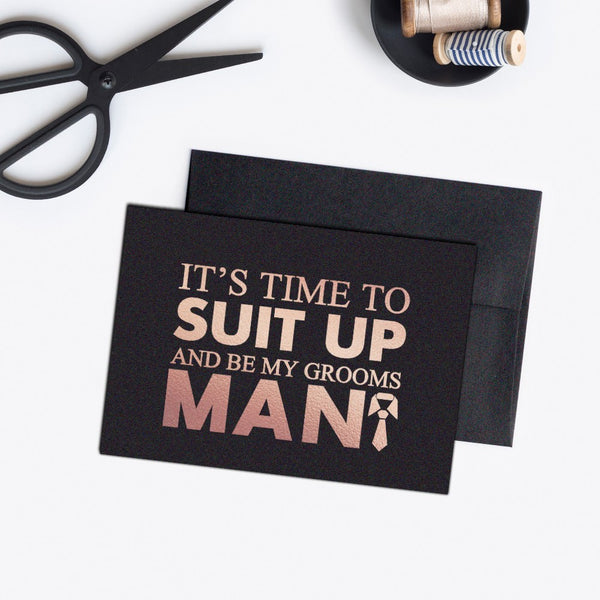 Groomsman card 'Bold and Bulky' - Black / Rose gold foil - Dazzling Daisies