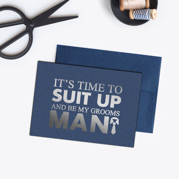 Groomsman card 'Bold and Bulky' - Navy / Silver foil - Dazzling Daisies