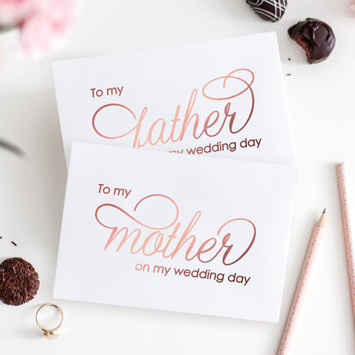 To my mother and to my father card Foil - Rose gold foil - Dazzling Daisies