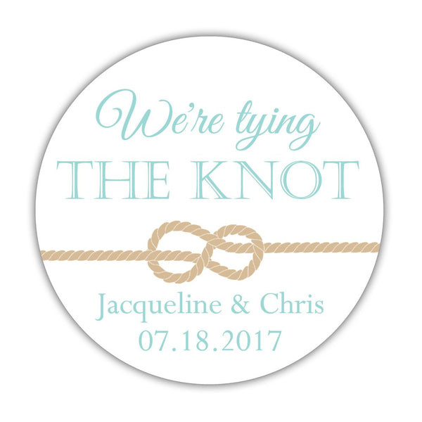 "We're tying the knot stickers - 1.5"" circle = 30 labels per sheet / Aquamarine - Dazzling Daisies"
