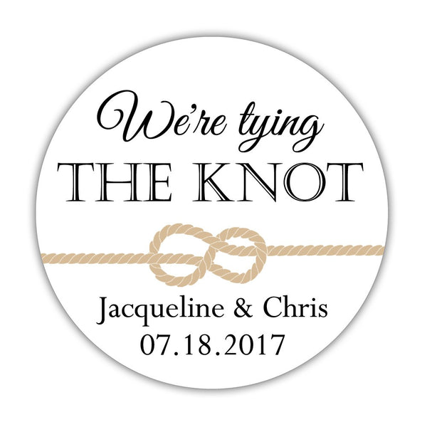"We're tying the knot stickers - 1.5"" circle = 30 labels per sheet / Black - Dazzling Daisies"