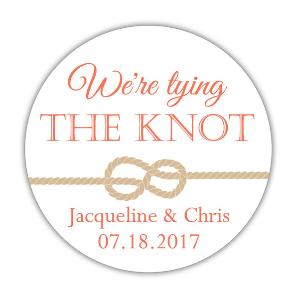 "We're tying the knot stickers - 1.5"" circle = 30 labels per sheet / Coral - Dazzling Daisies"