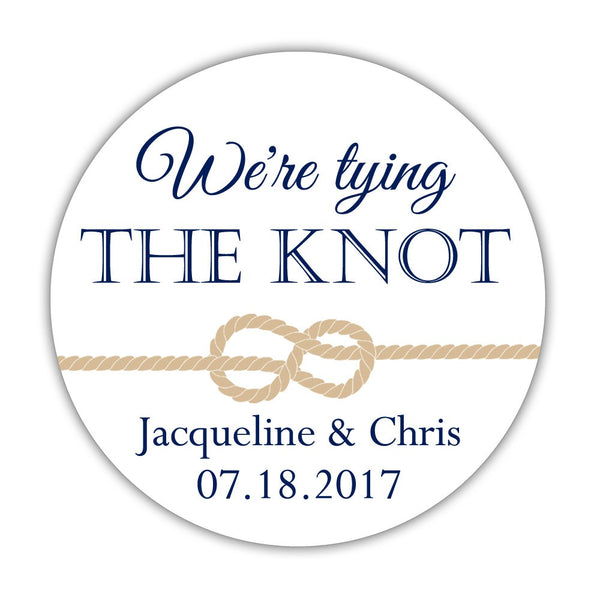 "We're tying the knot stickers - 1.5"" circle = 30 labels per sheet / Navy - Dazzling Daisies"
