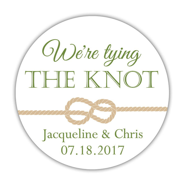 "We're tying the knot stickers - 1.5"" circle = 30 labels per sheet / Olive - Dazzling Daisies"