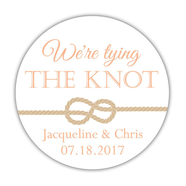 "We're tying the knot stickers - 1.5"" circle = 30 labels per sheet / Peach - Dazzling Daisies"