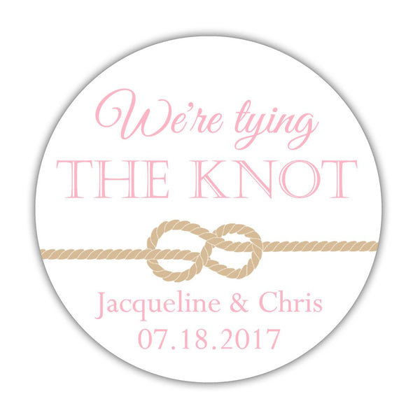 "We're tying the knot stickers - 1.5"" circle = 30 labels per sheet / Pink - Dazzling Daisies"
