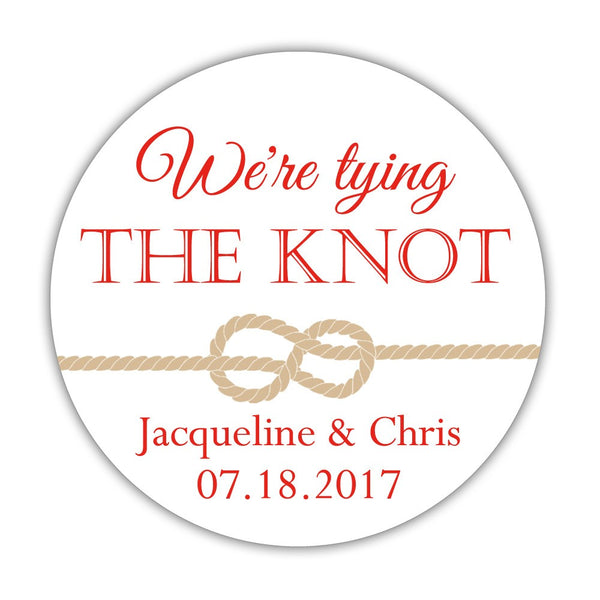 "We're tying the knot stickers - 1.5"" circle = 30 labels per sheet / Red - Dazzling Daisies"