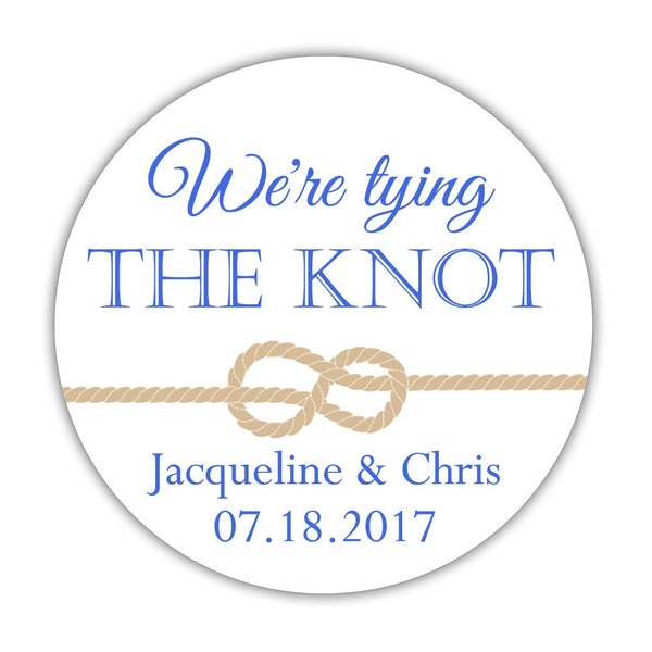 "We're tying the knot stickers - 1.5"" circle = 30 labels per sheet / Royal blue - Dazzling Daisies"