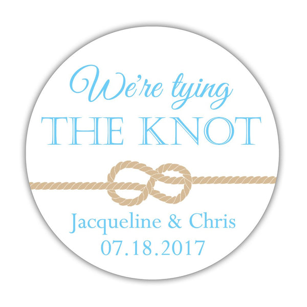 "We're tying the knot stickers - 1.5"" circle = 30 labels per sheet / Sky blue - Dazzling Daisies"