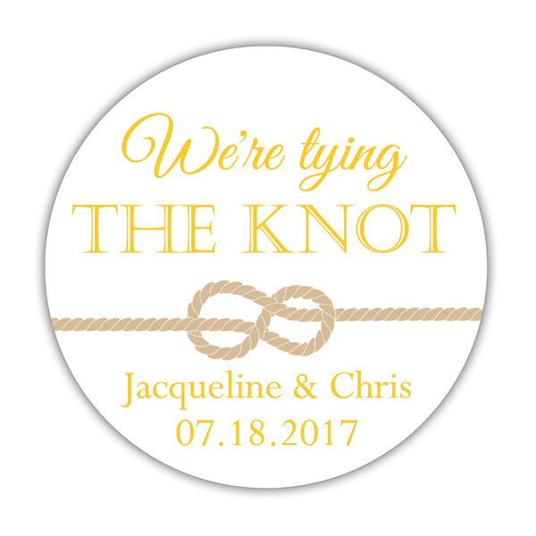 "We're tying the knot stickers - 1.5"" circle = 30 labels per sheet / Yellow - Dazzling Daisies"