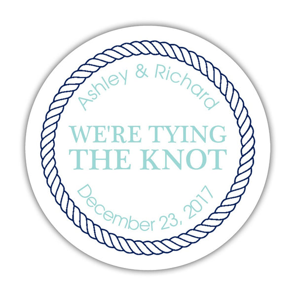 "We're tying the knot stickers 'Rope Circle' - 1.5"" circle = 30 labels per sheet / Aquamarine - Dazzling Daisies"