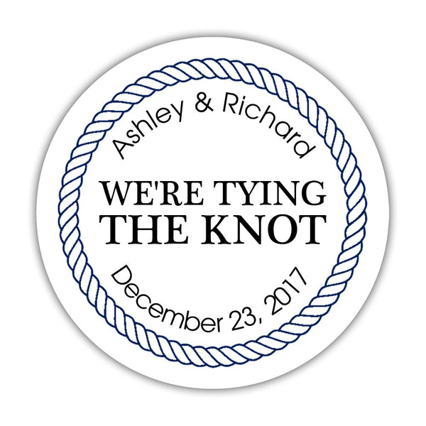 "We're tying the knot stickers 'Rope Circle' - 1.5"" circle = 30 labels per sheet / Black - Dazzling Daisies"