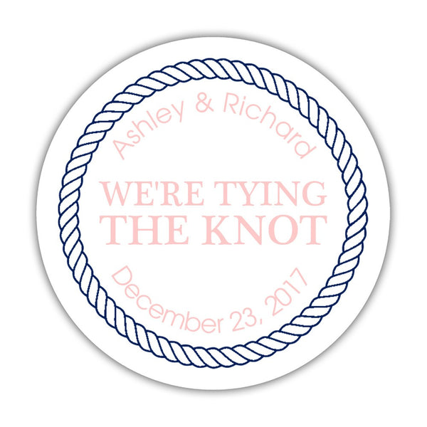"We're tying the knot stickers 'Rope Circle' - 1.5"" circle = 30 labels per sheet / Blush - Dazzling Daisies"