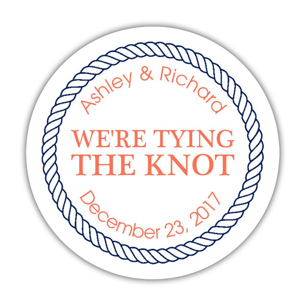 "We're tying the knot stickers 'Rope Circle' - 1.5"" circle = 30 labels per sheet / Coral - Dazzling Daisies"