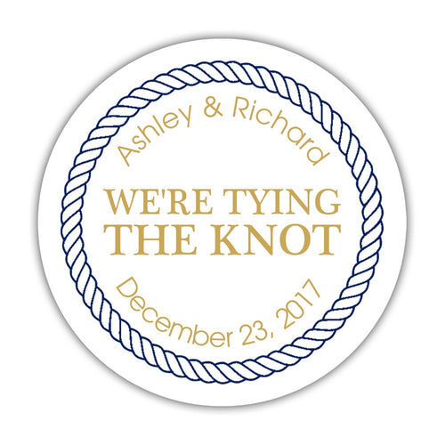 "We're tying the knot stickers 'Rope Circle' - 1.5"" circle = 30 labels per sheet / Gold - Dazzling Daisies"