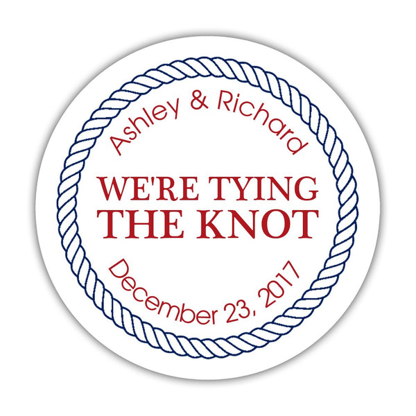 "We're tying the knot stickers 'Rope Circle' - 1.5"" circle = 30 labels per sheet / Indian red - Dazzling Daisies"