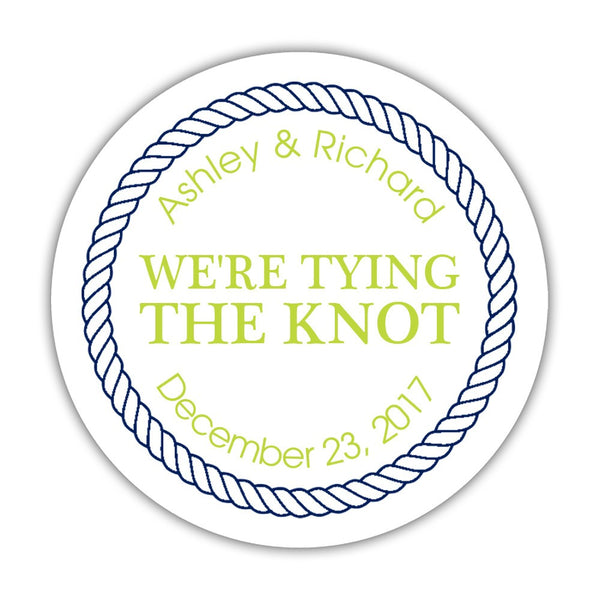 "We're tying the knot stickers 'Rope Circle' - 1.5"" circle = 30 labels per sheet / Lime - Dazzling Daisies"
