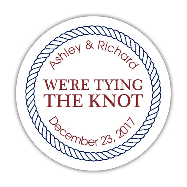"We're tying the knot stickers 'Rope Circle' - 1.5"" circle = 30 labels per sheet / Maroon - Dazzling Daisies"