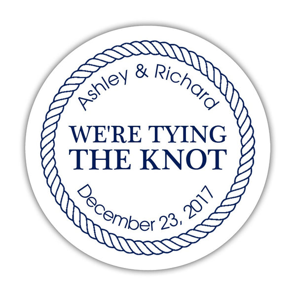 "We're tying the knot stickers 'Rope Circle' - 1.5"" circle = 30 labels per sheet / Navy - Dazzling Daisies"
