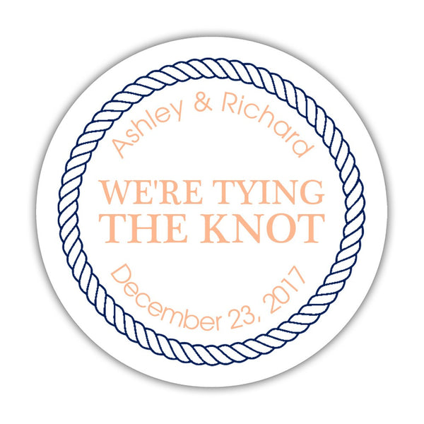"We're tying the knot stickers 'Rope Circle' - 1.5"" circle = 30 labels per sheet / Peach - Dazzling Daisies"