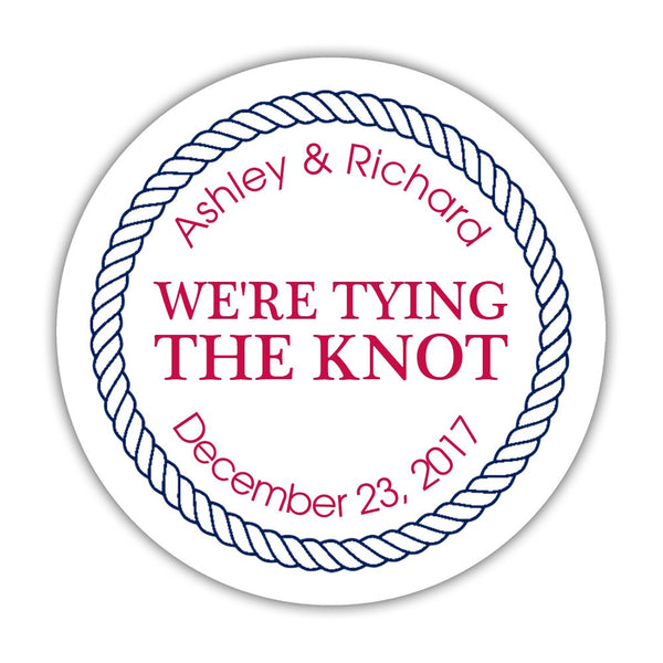 "We're tying the knot stickers 'Rope Circle' - 1.5"" circle = 30 labels per sheet / Raspberry - Dazzling Daisies"