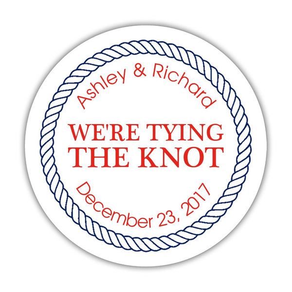 "We're tying the knot stickers 'Rope Circle' - 1.5"" circle = 30 labels per sheet / Red - Dazzling Daisies"