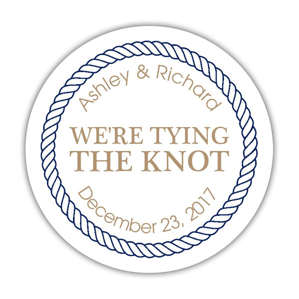 "We're tying the knot stickers 'Rope Circle' - 1.5"" circle = 30 labels per sheet / Sand - Dazzling Daisies"