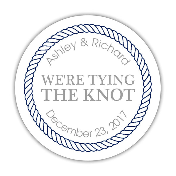 "We're tying the knot stickers 'Rope Circle' - 1.5"" circle = 30 labels per sheet / Silver - Dazzling Daisies"