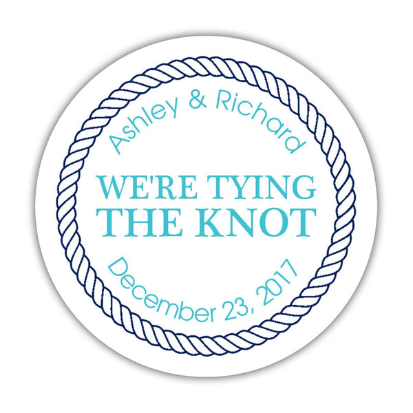 "We're tying the knot stickers 'Rope Circle' - 1.5"" circle = 30 labels per sheet / Turquoise - Dazzling Daisies"
