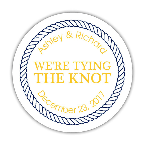 "We're tying the knot stickers 'Rope Circle' - 1.5"" circle = 30 labels per sheet / Yellow - Dazzling Daisies"