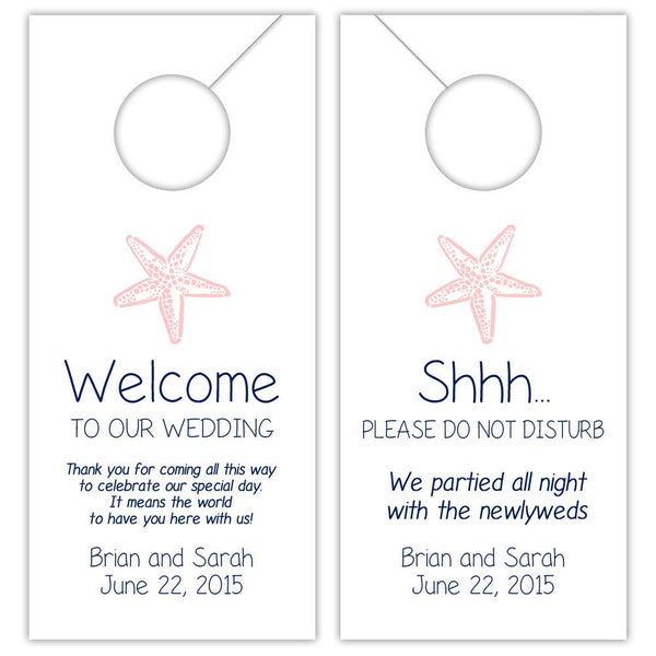 Wedding door hangers 'Beach Beauty' - Navy/Blush - Dazzling Daisies