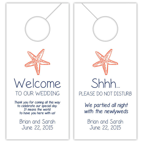 Wedding door hangers 'Beach Beauty' - Navy/Coral - Dazzling Daisies