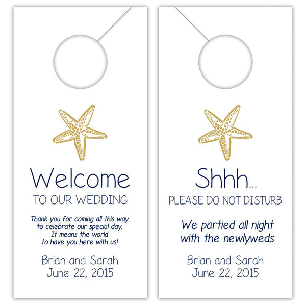 Wedding door hangers 'Beach Beauty' - Navy/Gold - Dazzling Daisies