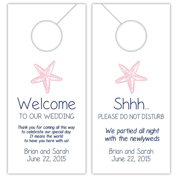 Wedding door hangers 'Beach Beauty' - Navy/Pink - Dazzling Daisies