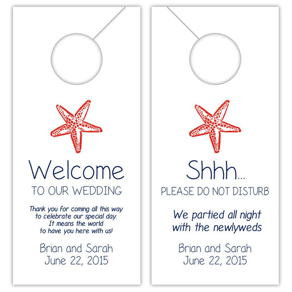 Wedding door hangers 'Beach Beauty' - Navy/Red - Dazzling Daisies