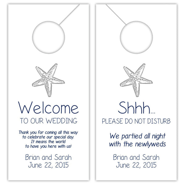Wedding door hangers 'Beach Beauty' - Navy/Silver - Dazzling Daisies