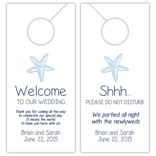 Wedding door hangers 'Beach Beauty' - Navy/Steel blue - Dazzling Daisies